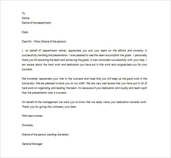 Thank You Letter To Employee   Free Sample Example Format