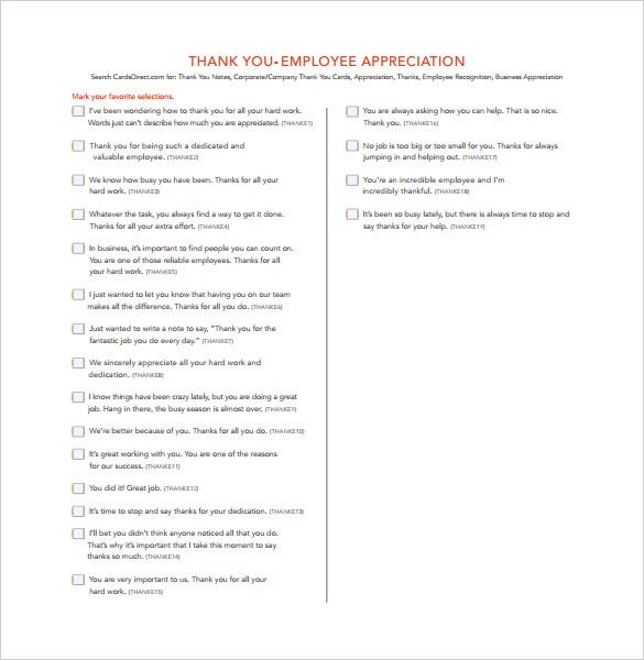 Thank You Letter To Employee Appreciation Form Download
