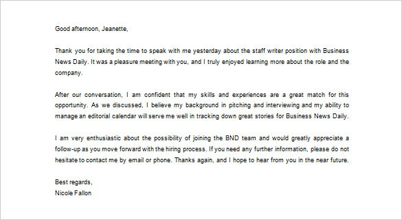 free business thank you letter for interview example