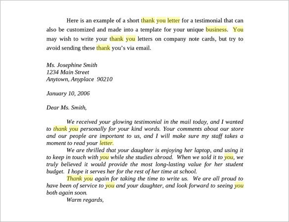 Business Thank You Letter 12 Free Sample Example Format – Thank You Letter Format Example
