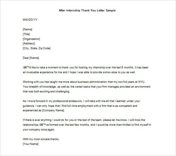 Thank You Note Example Sample After Internship Thank You Letter