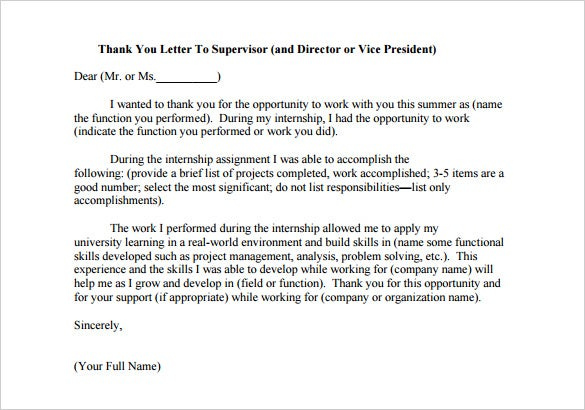 Elegant Internship Thank You Letter To Supervisor Sample PDF Download