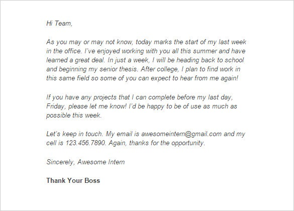 Internship Thank You Letter – 10+ Free Sample, Example Format ...