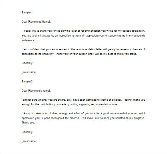 thank you letter for letter of recommendation Thank You Letter For Recommendation – 9  Free Sample, Example Format ...