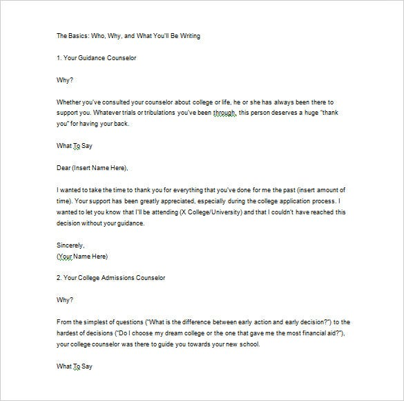 Thank You Letter For Recommendation   Free Sample Example