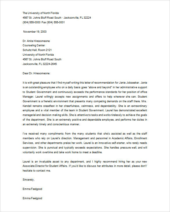 Printable Letter Of Recommendation For Graduate School From Employer