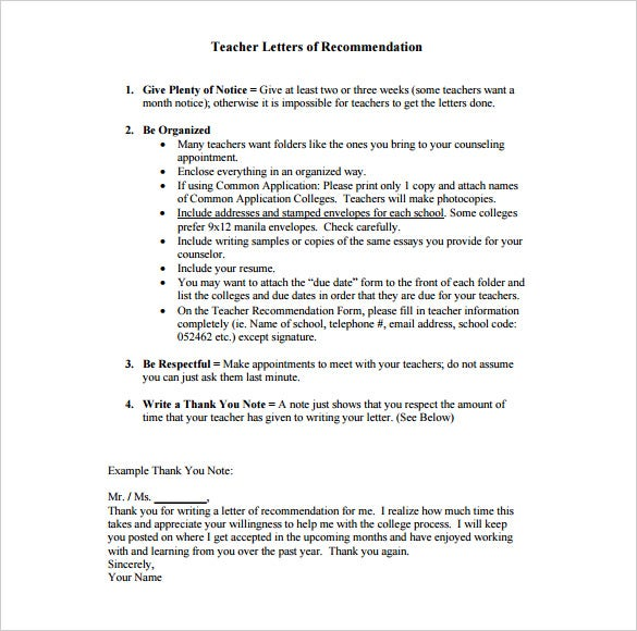 Thank You Letter For Recommendation   Free Sample Example Format