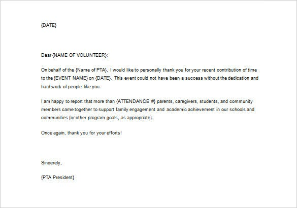 Programs Thank You Letter For Volunteering Example Word Format