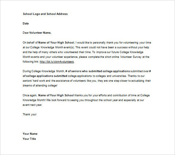 Volunteer Thank You Letter   Free Sample Example Format