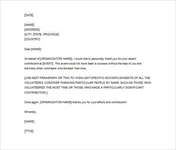 editable thank you letter for volunteer service word format