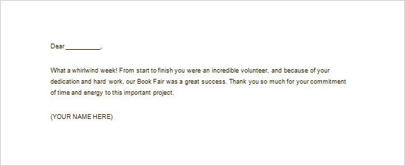 sample volunteer thank you letter for school free download