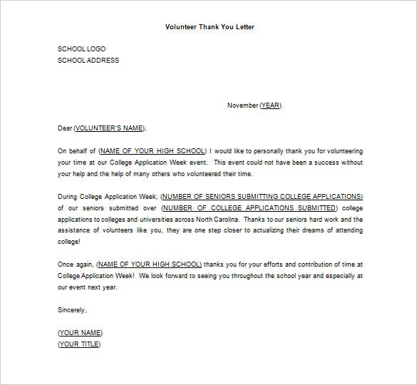 editable thank you letter for volunteer work ms word sample