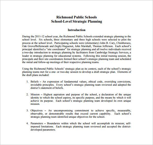 school level strategic action plan template
