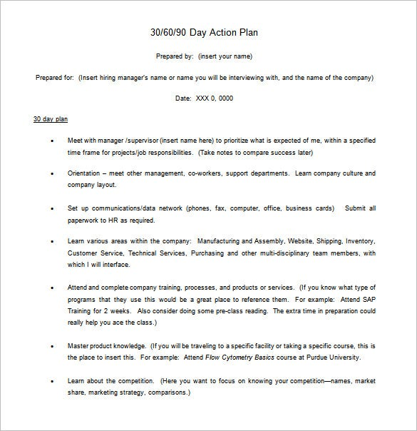 Day Action Plan Free Word Excel PDF Format - 30 60 90 day business plan template