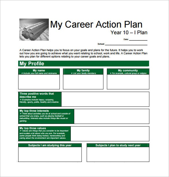 Sample Career Action Plan. 8 Step 3: Develop A Career Action Plan
