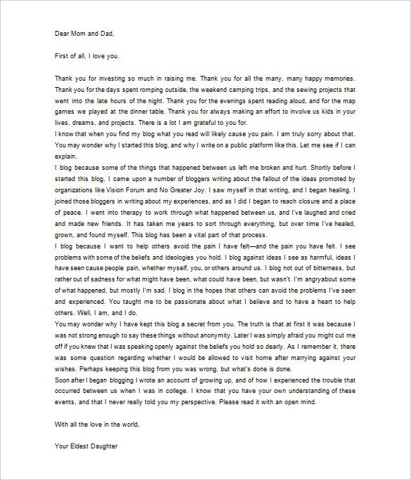 Letter Appreciation Parents Example thank you letter parents – Thank You Letter for Appreciation