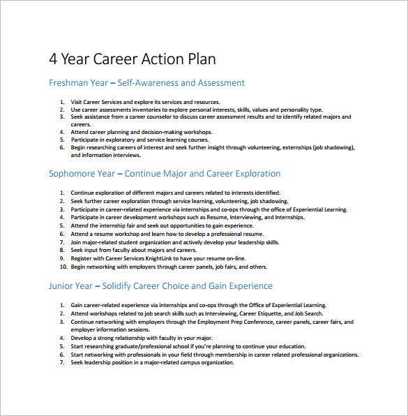 year career action plan pdf free download