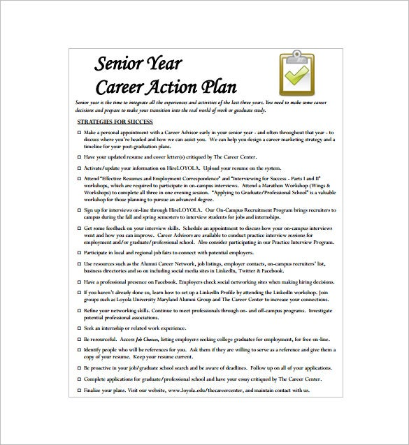 senior year career action plan pdf free download