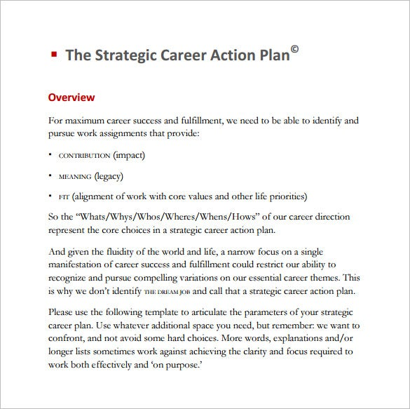 strategic career action plan template pdf
