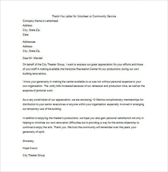 Thank You Letter For Your Service   Free Sample Example Format