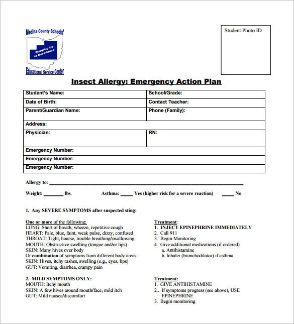 allergy action plan template