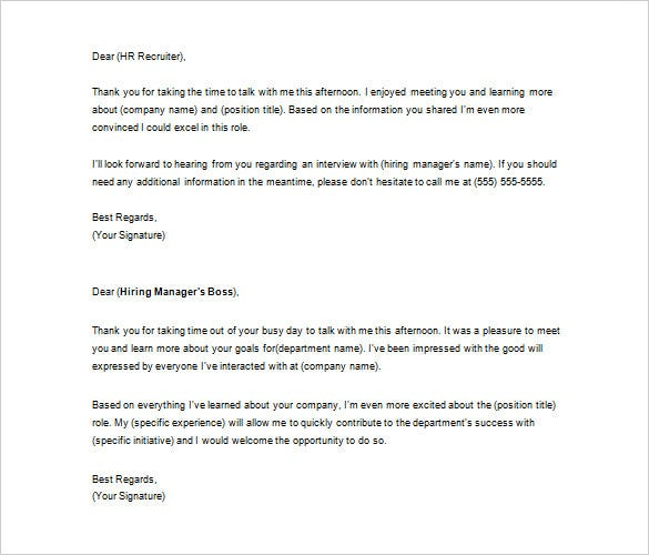 Thank You Letter To Recruiter   Free Sample Example Format