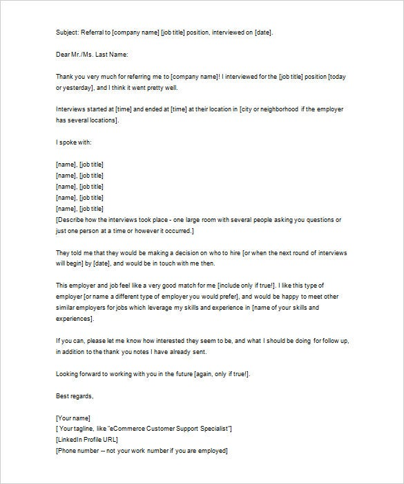 download thank you letter to external recruiter