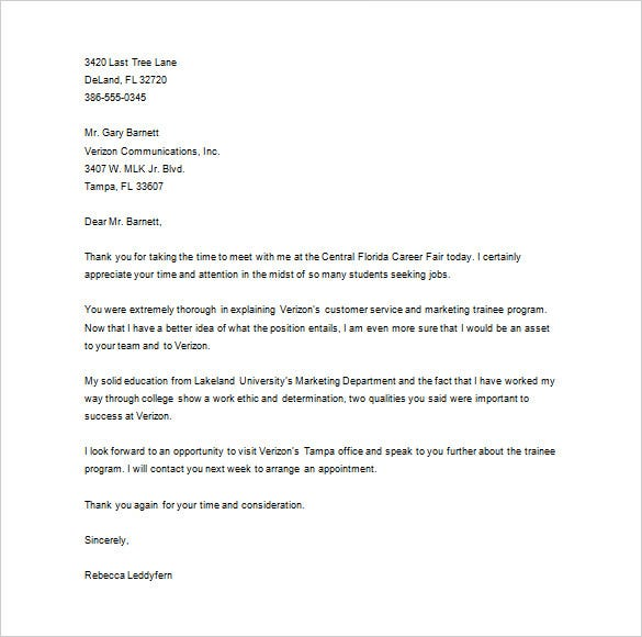 thank you letter to recruiter  u2013 10  free sample  example