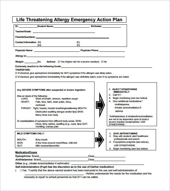 life threatening allergy emergency action plan pdf