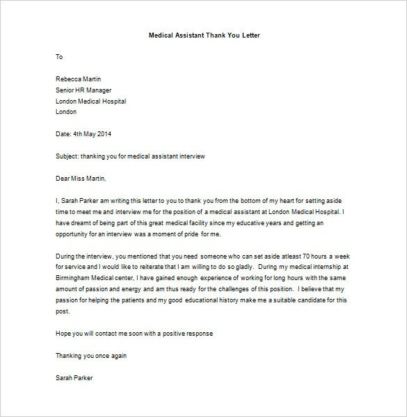 Medical Thank You Letter   Free Sample Example Format Download