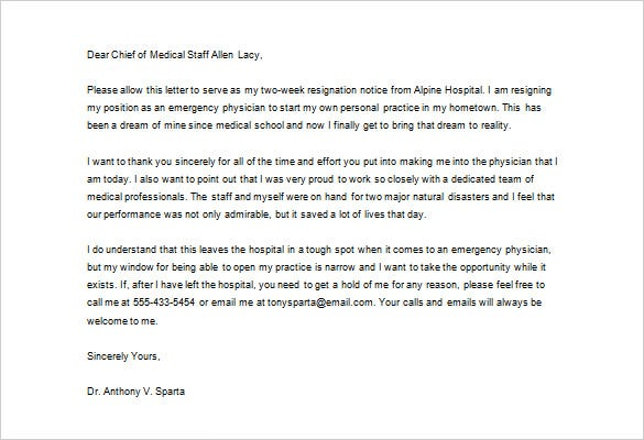 physician medical resignation thank you letter sample download
