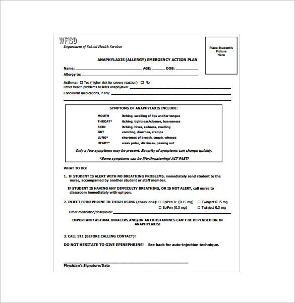 anaphylaxis allergy emergency action plan pdf download