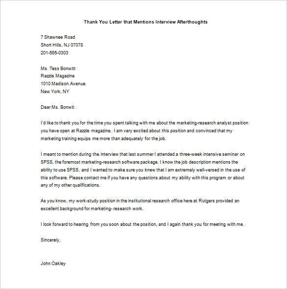 Sample Thank You Letter Sample Thank You Letter After Interview