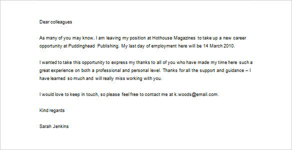 sample download job thank you letter to colleagues