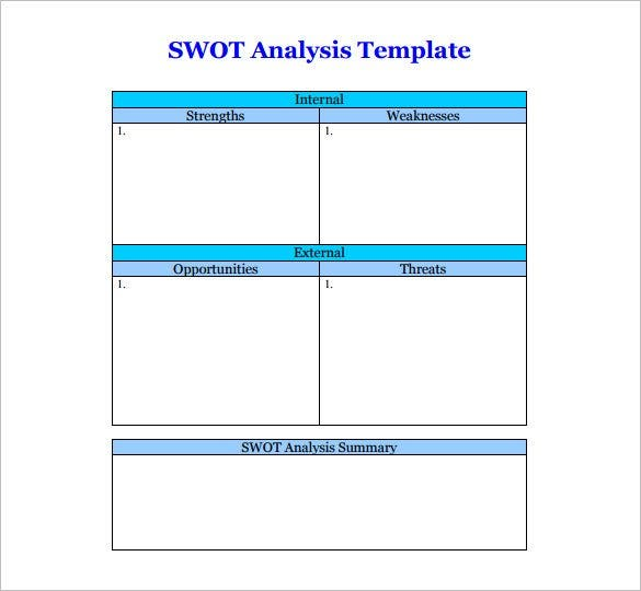 SWOT Analysis Template 46 Free Word Excel PDF – Swot Analysis Templates