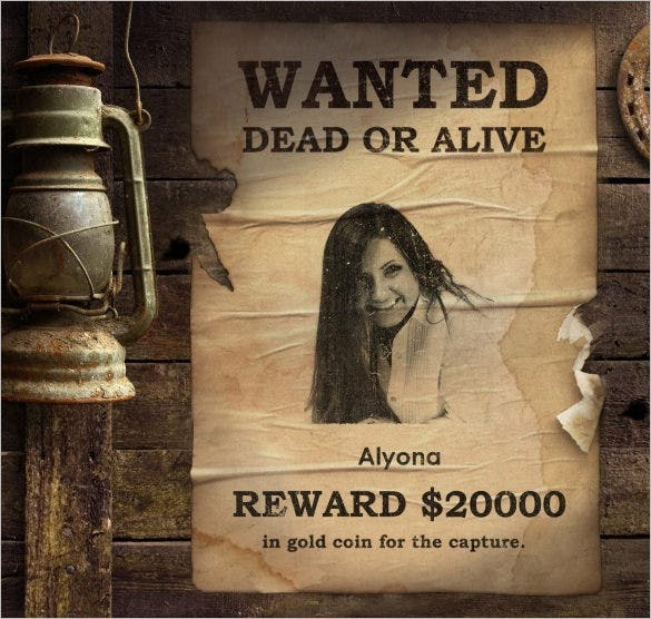 13 wanted poster generators makers tools free premium templates. Black Bedroom Furniture Sets. Home Design Ideas