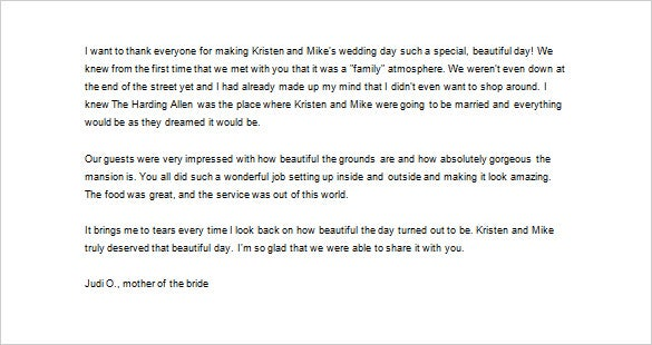 Superior Sample Wedding Thank You Letter To Parents Of The Bride