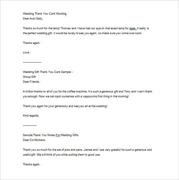 Wedding Thank You Letter   Free Sample Example Format