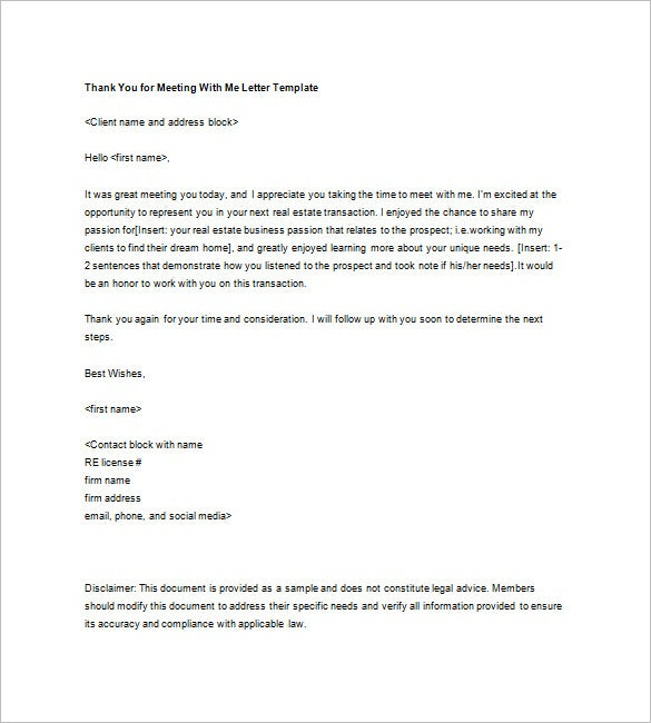thank you meeting me letter template free download