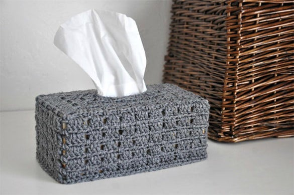 grey tissue box cover