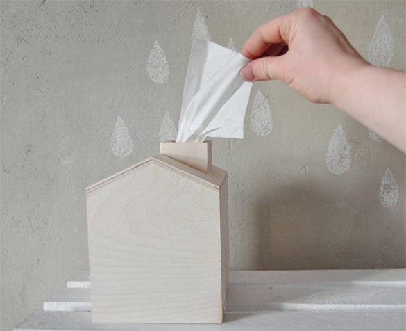 wooden house tissue box template