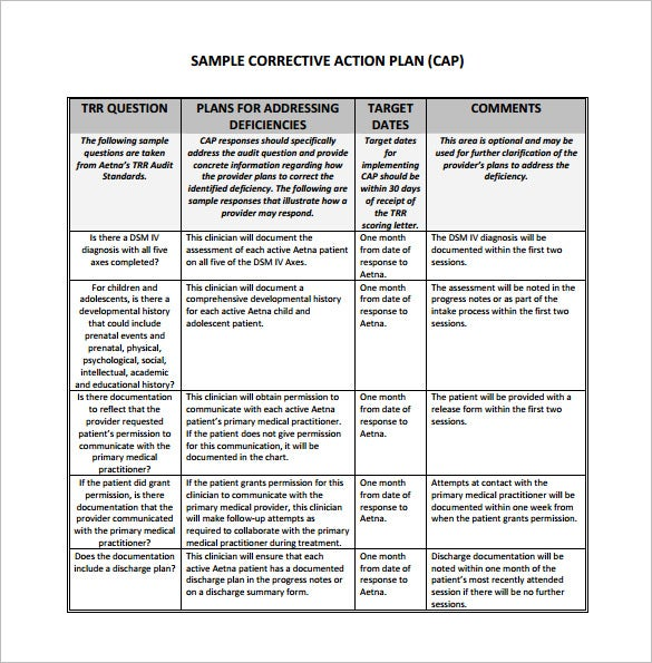 Corrective Action Plan Template 10 Free Sample Example Format – Example of Action Plan Template