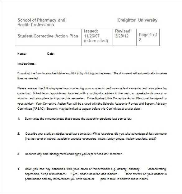 student corrective sample action plan free download
