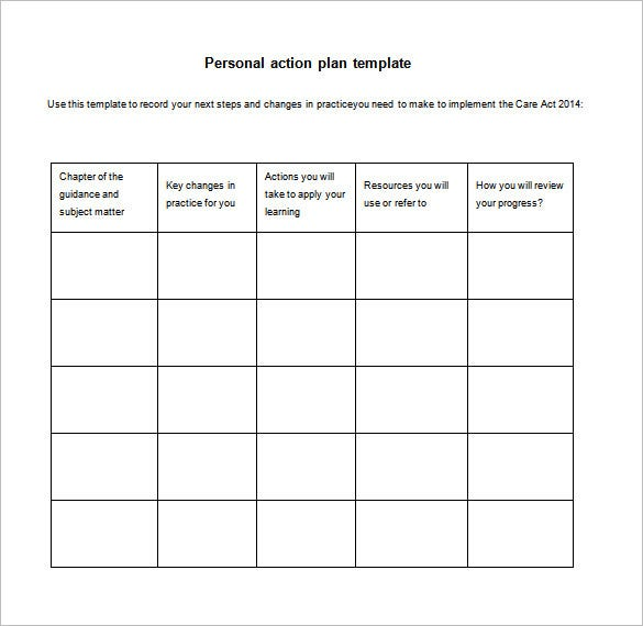 simple personal action plan example free download