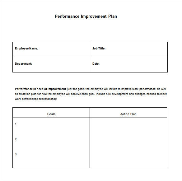 simple performance improvement action plan sample download