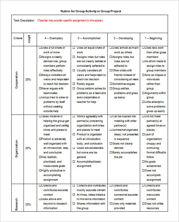 Rubric Template 31 Free Word Excel PDF Format Download – Blank Rubric Template