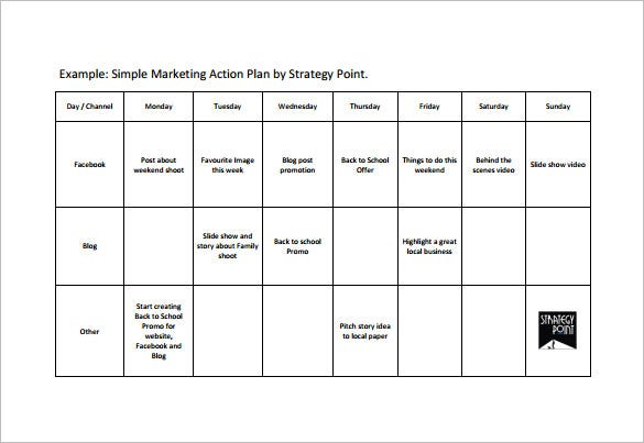 Example Marketing Action Plan Simple PDF Download