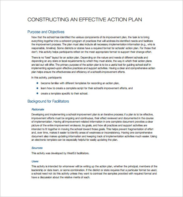 simple effective action plan sample template