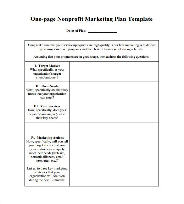 one page marketing action plan example download