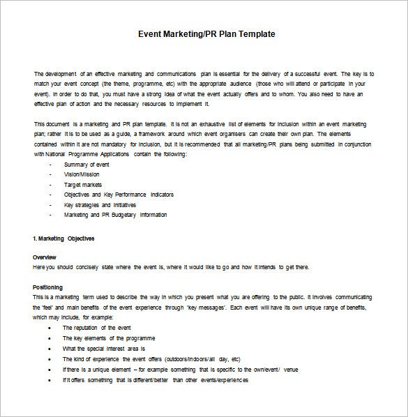 Marketing action plan template 9 free sample example format it has a paragraph style format to plan for event marketing or pr planning all the blocks and key points have some simple examples altavistaventures Image collections